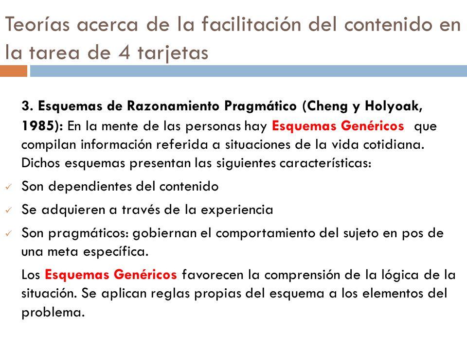 Teorías acerca de la facilitación del contenido en la tarea de 4 tarjetas 3. Esquemas de Razonamiento Pragmático (Cheng y Holyoak, 1985): En la mente