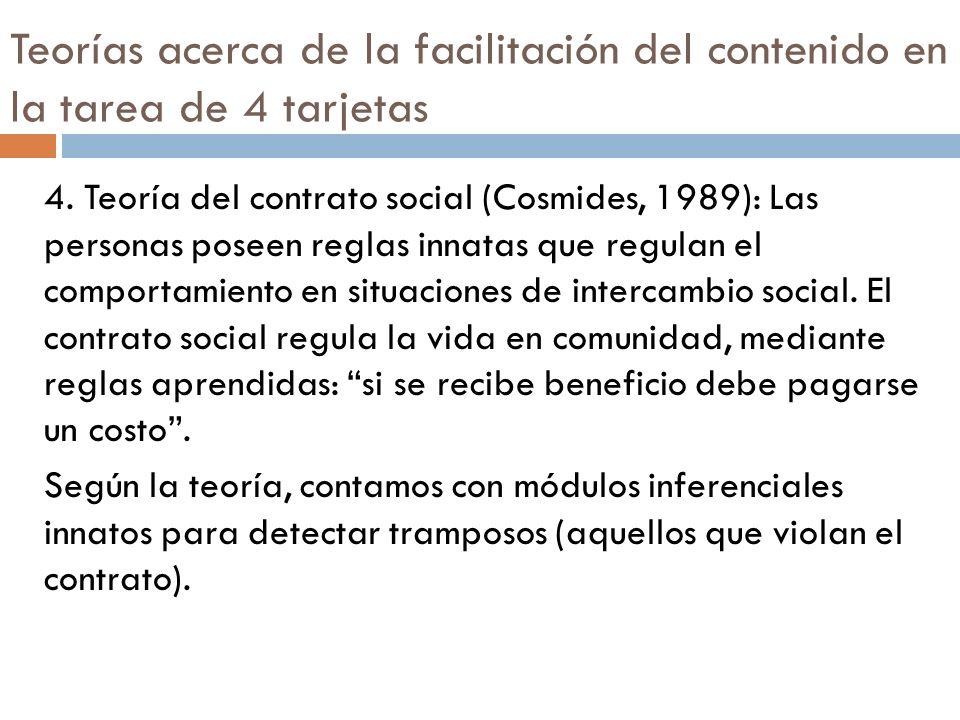 Teorías acerca de la facilitación del contenido en la tarea de 4 tarjetas 4. Teoría del contrato social (Cosmides, 1989): Las personas poseen reglas i
