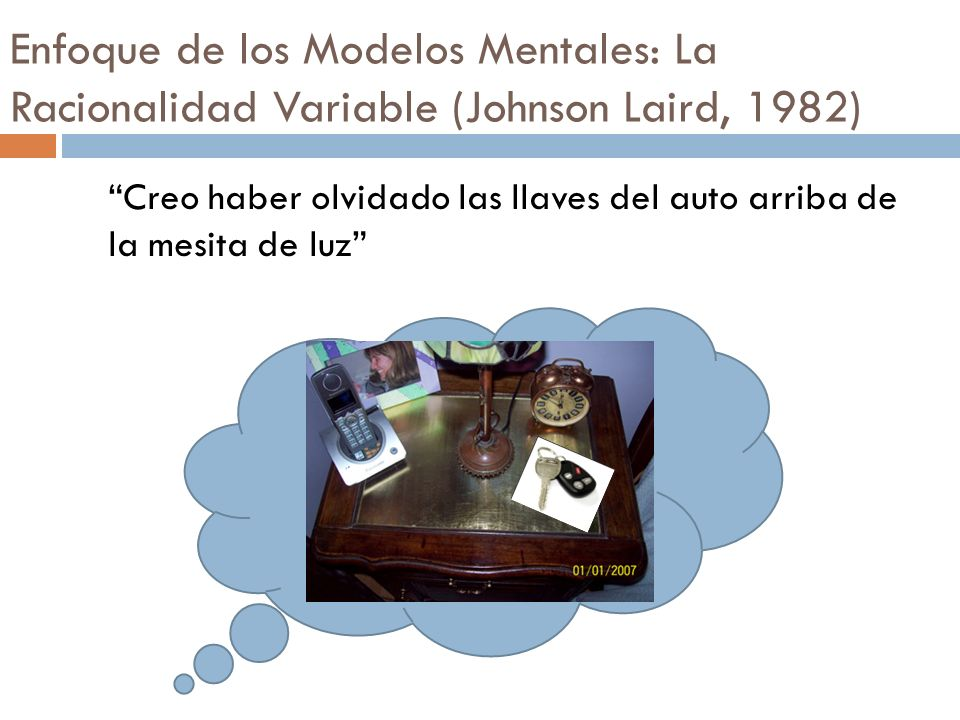 Creo haber olvidado las llaves del auto arriba de la mesita de luz Enfoque de los Modelos Mentales: La Racionalidad Variable (Johnson Laird, 1982)