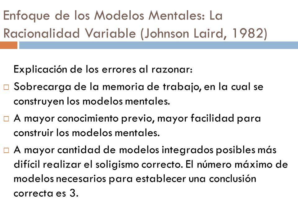 Explicación de los errores al razonar: Sobrecarga de la memoria de trabajo, en la cual se construyen los modelos mentales. A mayor conocimiento previo
