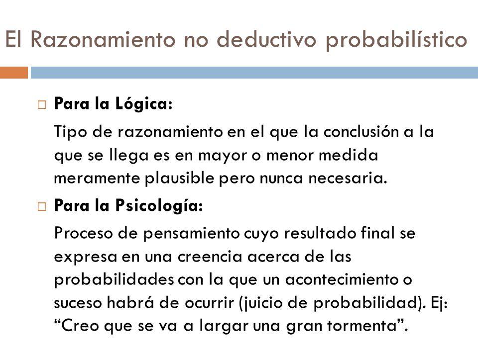 El Razonamiento no deductivo probabilístico Para la Lógica: Tipo de razonamiento en el que la conclusión a la que se llega es en mayor o menor medida