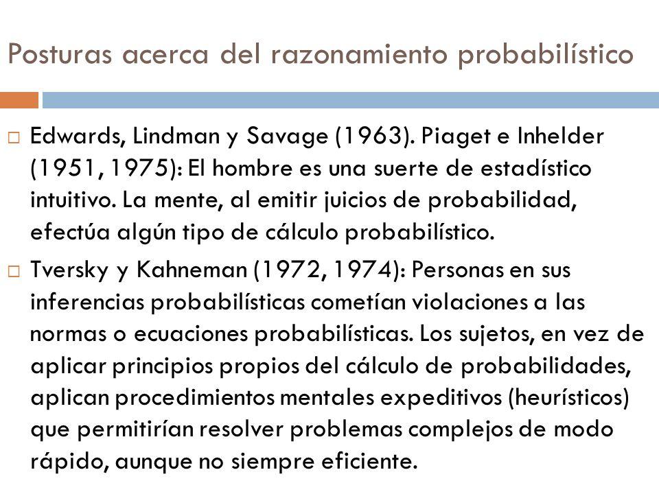 Posturas acerca del razonamiento probabilístico Edwards, Lindman y Savage (1963). Piaget e Inhelder (1951, 1975): El hombre es una suerte de estadísti