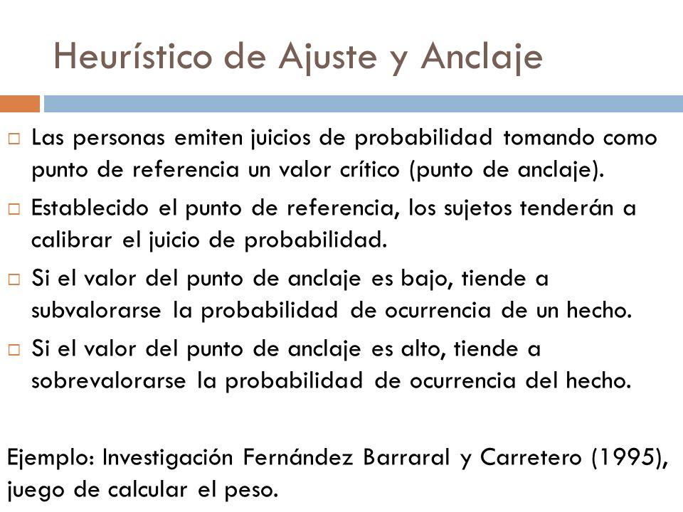 Heurístico de Ajuste y Anclaje Las personas emiten juicios de probabilidad tomando como punto de referencia un valor crítico (punto de anclaje). Estab