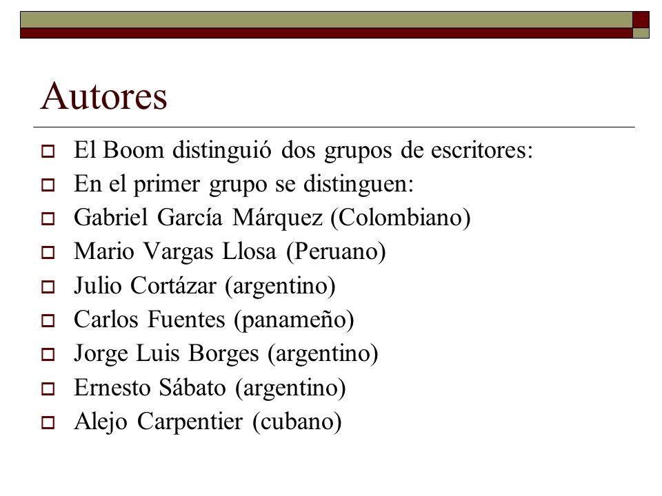 Autores El Boom distinguió dos grupos de escritores: En el primer grupo se distinguen: Gabriel García Márquez (Colombiano) Mario Vargas Llosa (Peruano