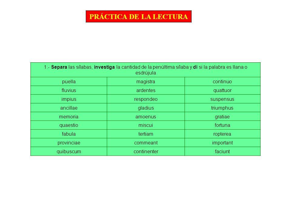 PRÁCTICA DE LA LECTURA 1.- Separa las sílabas, investiga la cantidad de la penúltima sílaba y di si la palabra es llana o esdrújula puellamagistracont