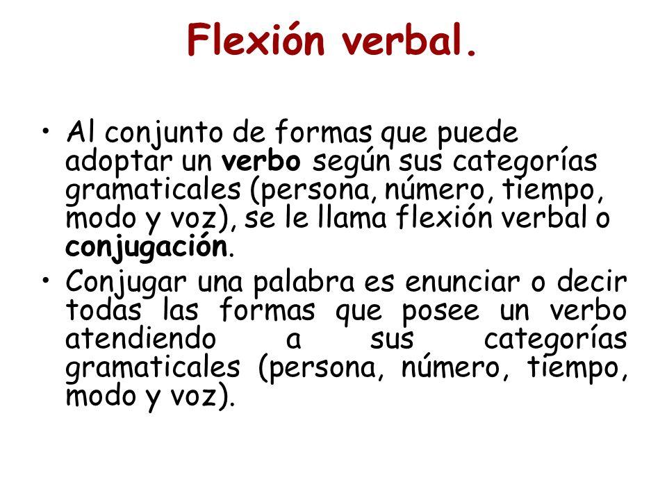 Flexión verbal. Al conjunto de formas que puede adoptar un verbo según sus categorías gramaticales (persona, número, tiempo, modo y voz), se le llama