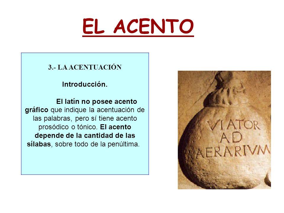 EL ACENTO 3.- LA ACENTUACIÓN Introducción. El latín no posee acento gráfico que indique la acentuación de las palabras, pero sí tiene acento prosódico
