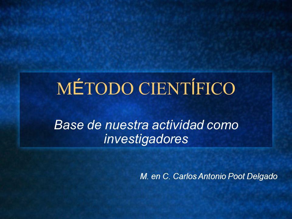 M É TODO CIENT Í FICO Base de nuestra actividad como investigadores M. en C. Carlos Antonio Poot Delgado