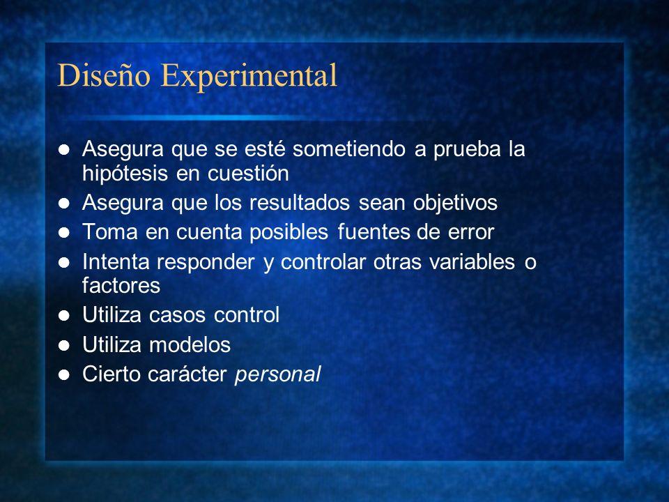 Diseño Experimental Asegura que se esté sometiendo a prueba la hipótesis en cuestión Asegura que los resultados sean objetivos Toma en cuenta posibles