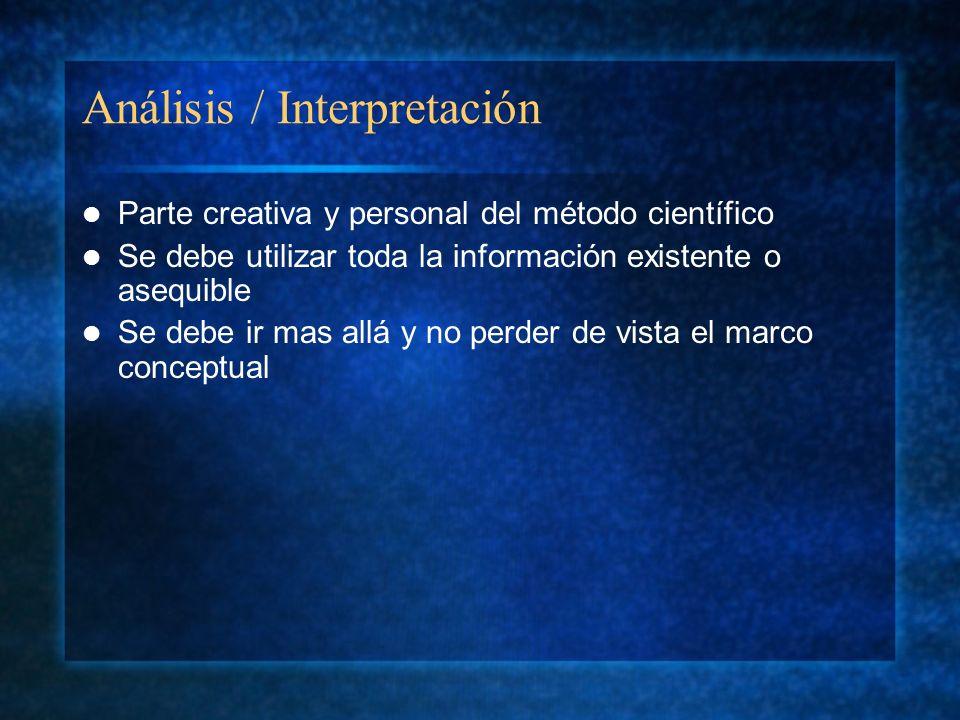 Análisis / Interpretación Parte creativa y personal del método científico Se debe utilizar toda la información existente o asequible Se debe ir mas al