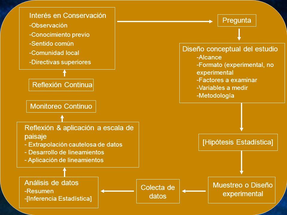 Interés en Conservación -Observación -Conocimiento previo -Sentido común -Comunidad local -Directivas superiores Reflexión Continua Monitoreo Continuo
