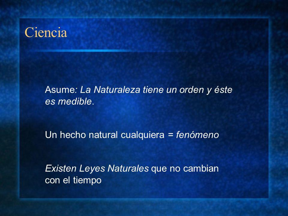 Ciencia Asume: La Naturaleza tiene un orden y éste es medible. Existen Leyes Naturales que no cambian con el tiempo Un hecho natural cualquiera = fenó