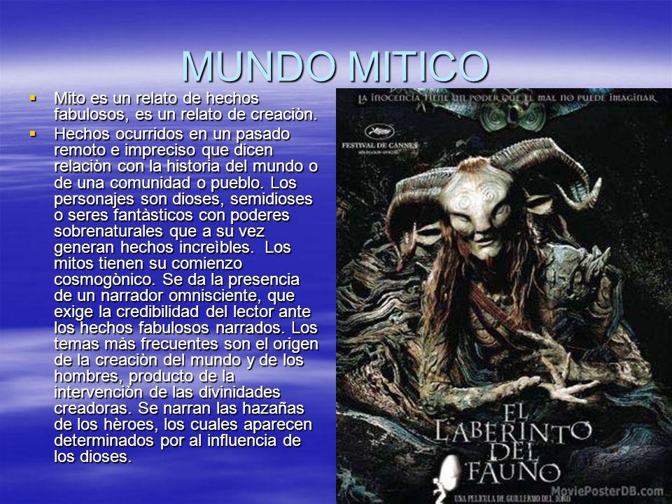 MUNDO MITICO Mito es un relato de hechos fabulosos, es un relato de creaciòn. Mito es un relato de hechos fabulosos, es un relato de creaciòn. Hechos