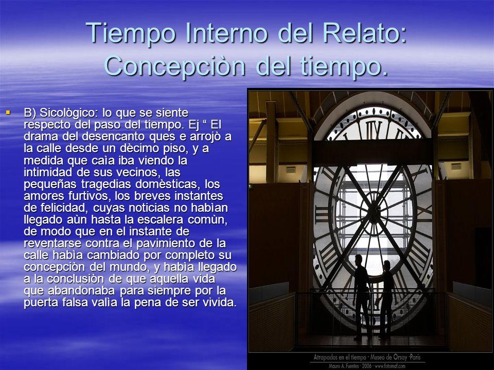 Tiempo Interno del Relato: Concepciòn del tiempo. B) Sicològico: lo que se siente respecto del paso del tiempo. Ej El drama del desencanto ques e arro