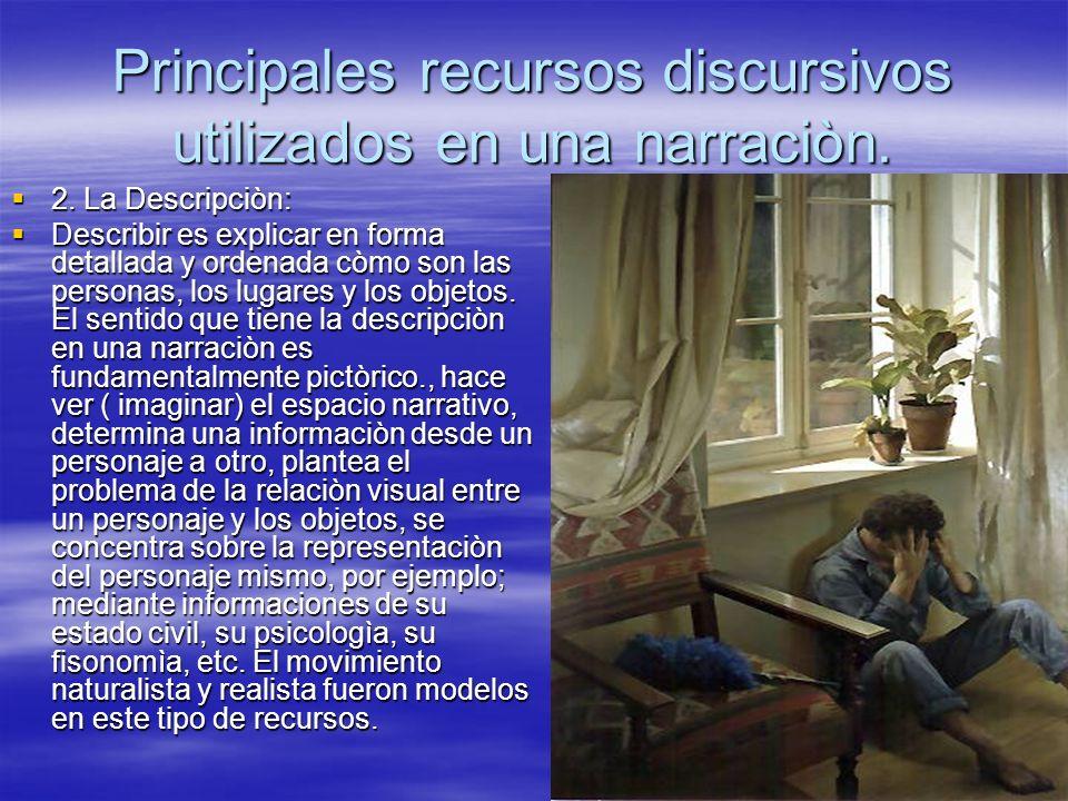 Principales recursos discursivos utilizados en una narraciòn. 2. La Descripciòn: 2. La Descripciòn: Describir es explicar en forma detallada y ordenad