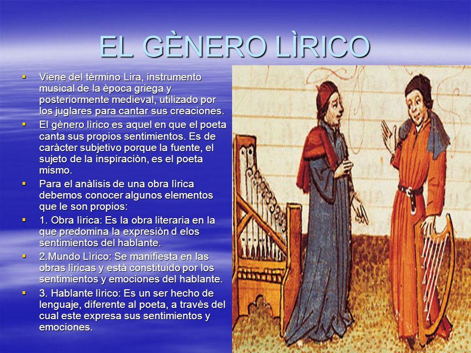 EL GÈNERO LÌRICO Viene del tèrmino Lira, instrumento musical de la època griega y posteriormente medieval, utilizado por los juglares para cantar sus