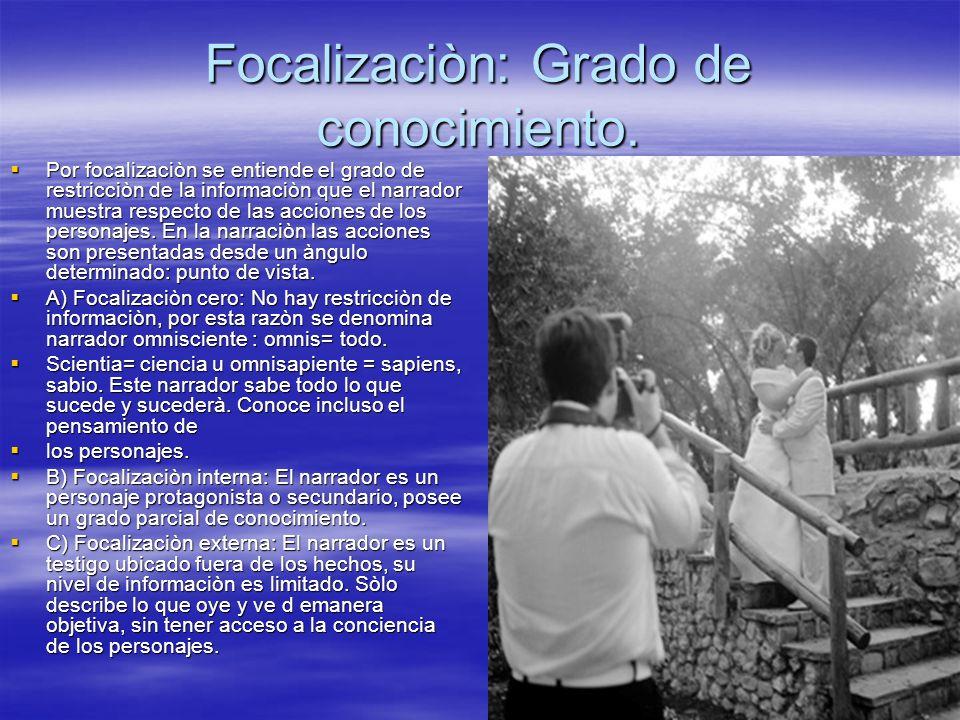 Focalizaciòn: Grado de conocimiento. Por focalizaciòn se entiende el grado de restricciòn de la informaciòn que el narrador muestra respecto de las ac