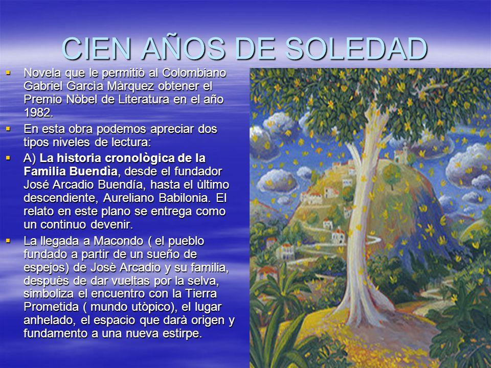 CIEN AÑOS DE SOLEDAD Novela que le permitiò al Colombiano Gabriel Garcìa Màrquez obtener el Premio Nòbel de Literatura en el año 1982. Novela que le p