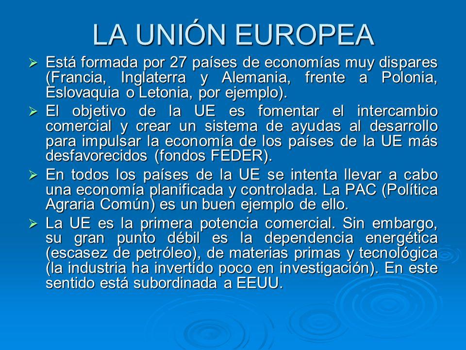 LA UNIÓN EUROPEA Está formada por 27 países de economías muy dispares (Francia, Inglaterra y Alemania, frente a Polonia, Eslovaquia o Letonia, por eje