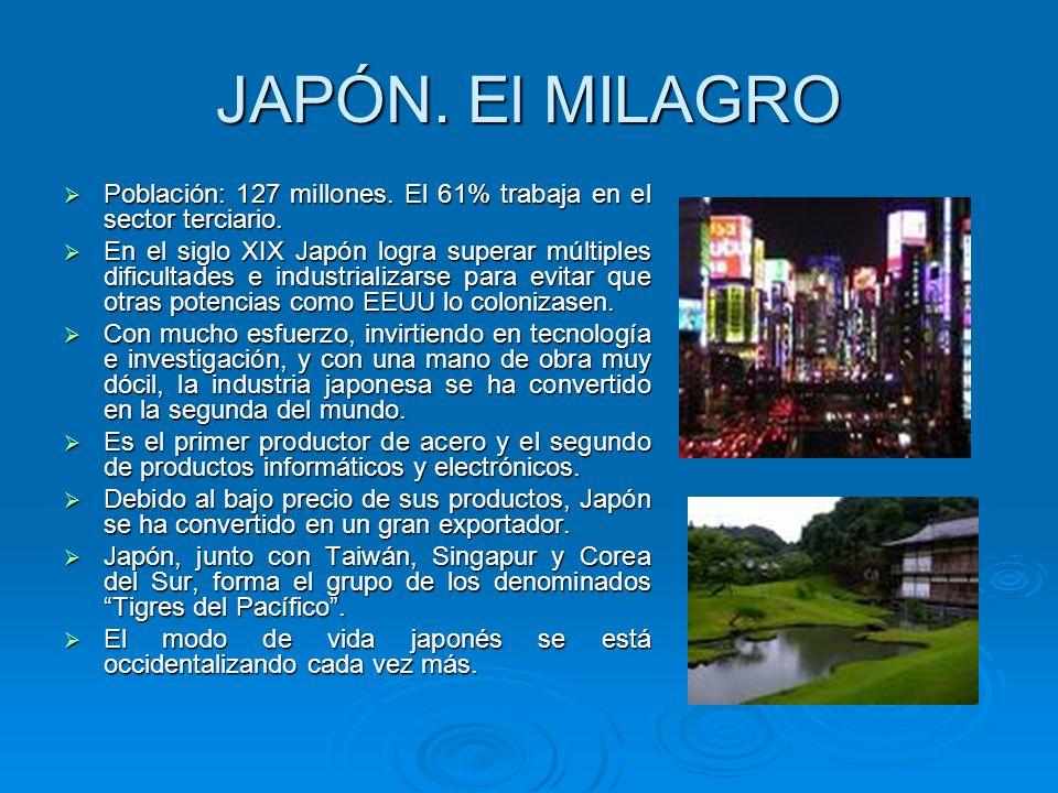 JAPÓN. El MILAGRO Población: 127 millones. El 61% trabaja en el sector terciario. Población: 127 millones. El 61% trabaja en el sector terciario. En e