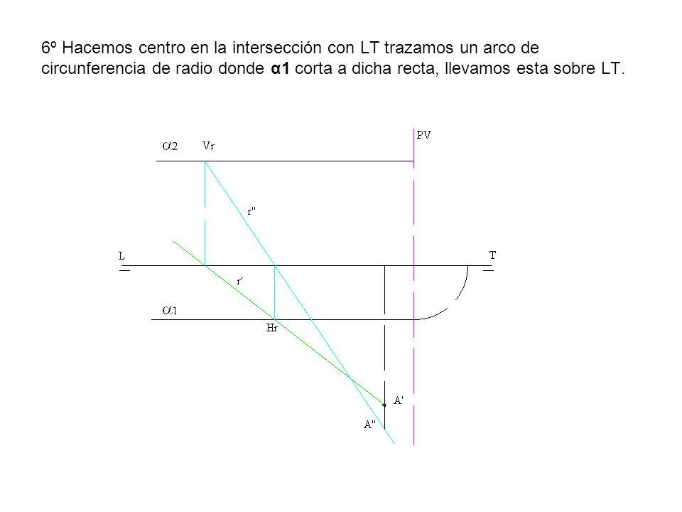 6º Hacemos centro en la intersección con LT trazamos un arco de circunferencia de radio donde α1 corta a dicha recta, llevamos esta sobre LT.