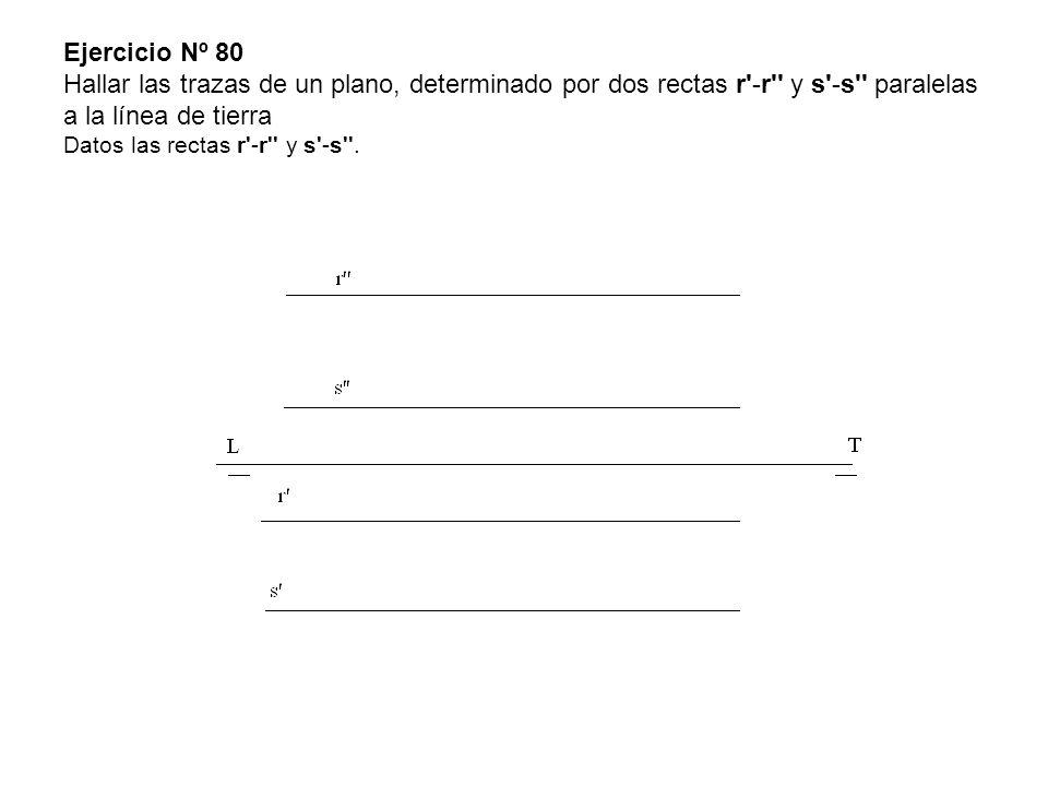 Ejercicio Nº 80 Hallar las trazas de un plano, determinado por dos rectas r'-r'' y s'-s'' paralelas a la línea de tierra Datos las rectas r'-r'' y s'-