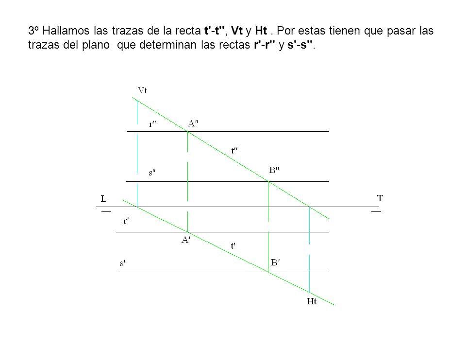 3º Hallamos las trazas de la recta t'-t'', Vt y Ht. Por estas tienen que pasar las trazas del plano que determinan las rectas r'-r'' y s'-s''.
