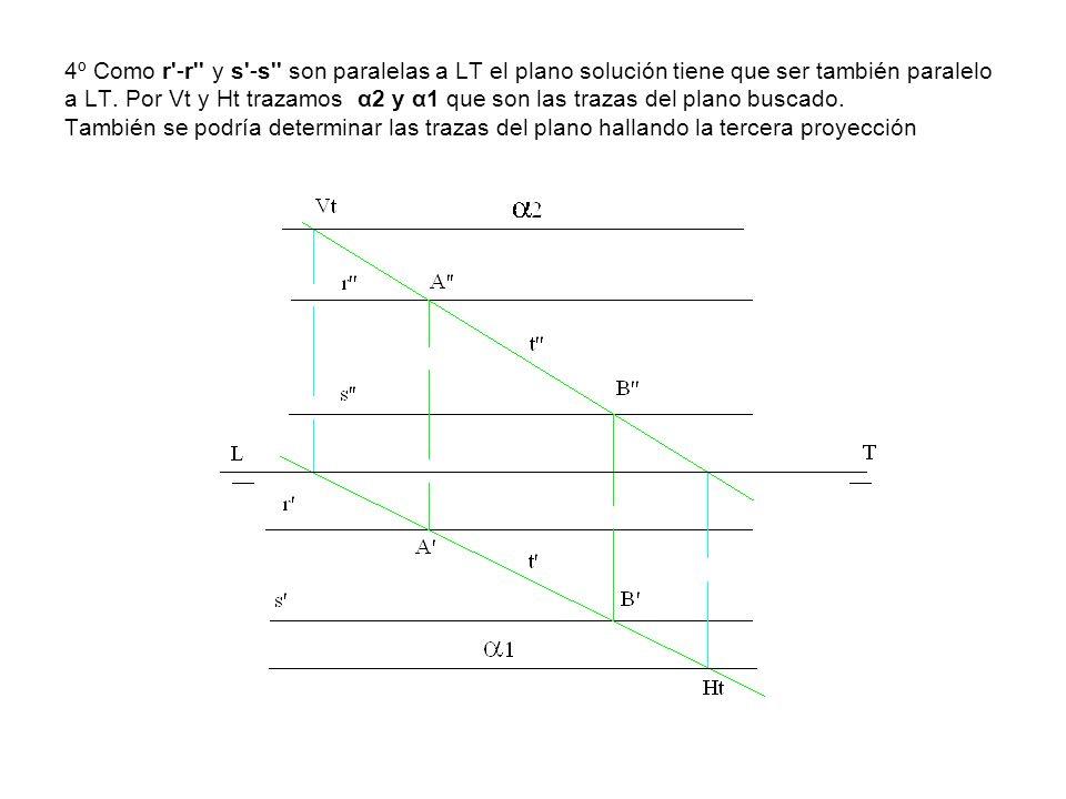 4º Como r'-r'' y s'-s'' son paralelas a LT el plano solución tiene que ser también paralelo a LT. Por Vt y Ht trazamos α2 y α1 que son las trazas del