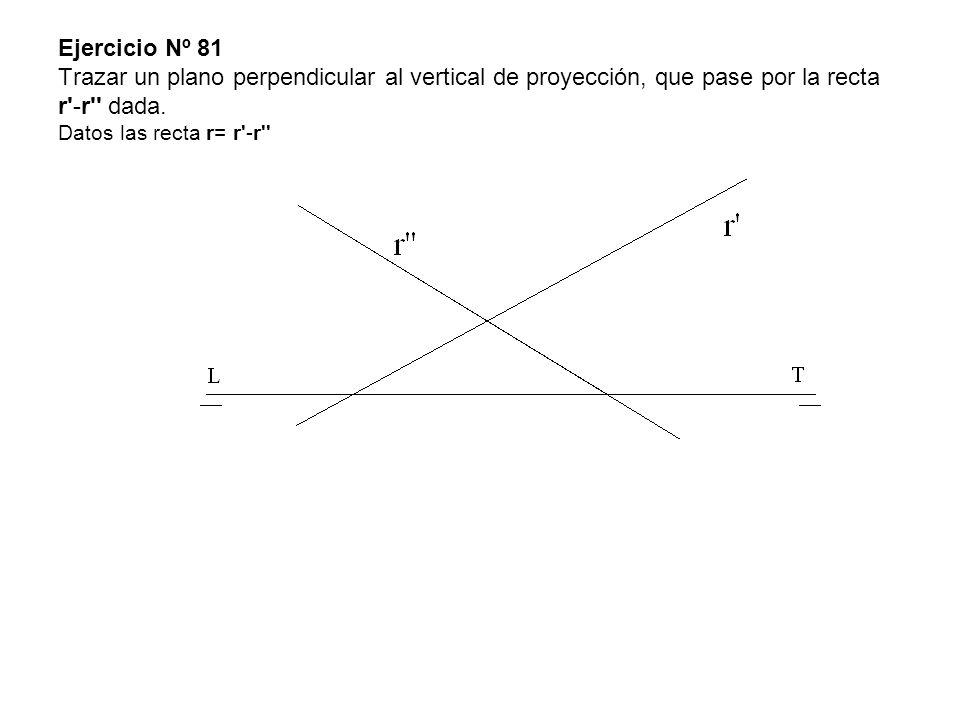 Ejercicio Nº 81 Trazar un plano perpendicular al vertical de proyección, que pase por la recta r'-r'' dada. Datos las recta r= r'-r''