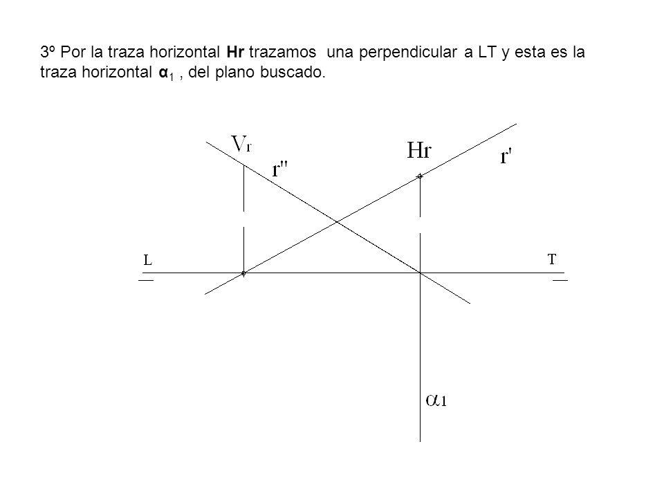3º Por la traza horizontal Hr trazamos una perpendicular a LT y esta es la traza horizontal α 1, del plano buscado.