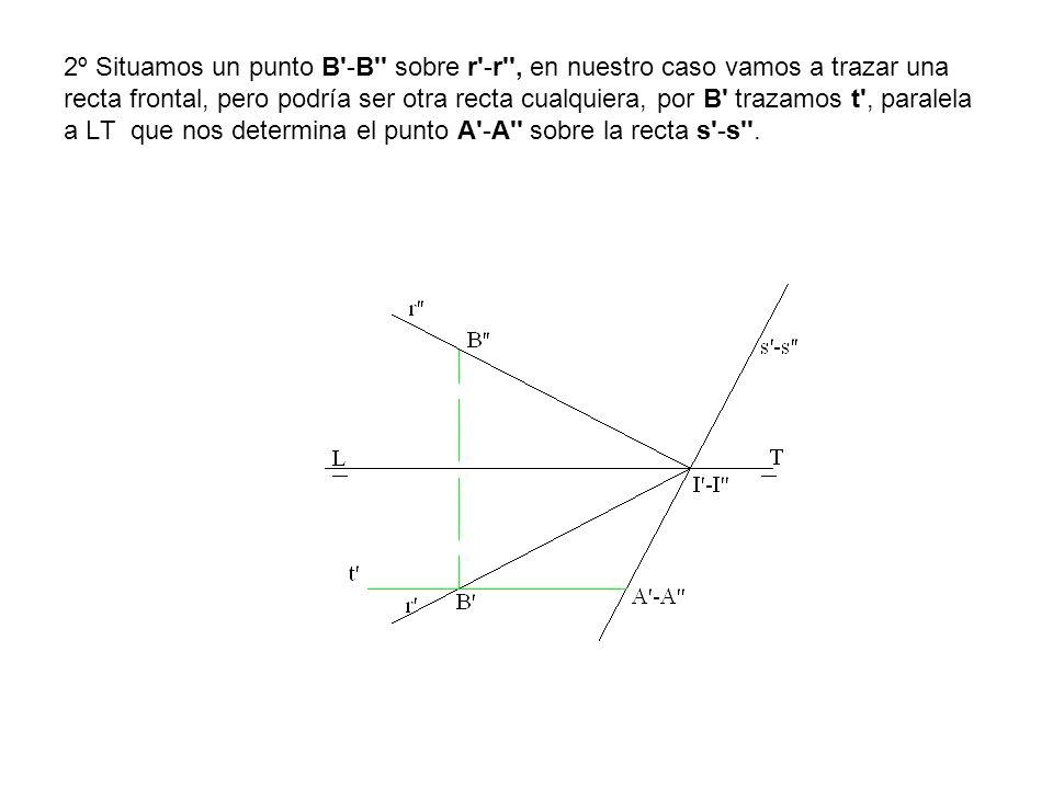 2º Situamos un punto B'-B'' sobre r'-r'', en nuestro caso vamos a trazar una recta frontal, pero podría ser otra recta cualquiera, por B' trazamos t',