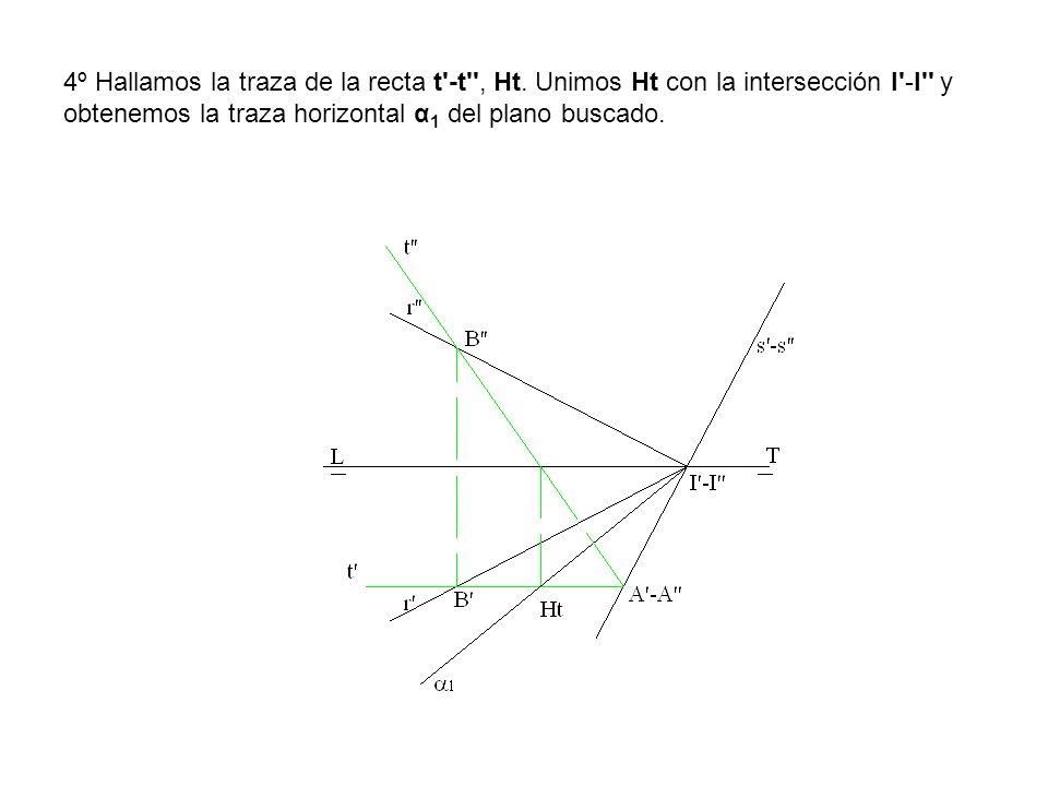 4º Hallamos la traza de la recta t'-t'', Ht. Unimos Ht con la intersección I'-I'' y obtenemos la traza horizontal α 1 del plano buscado.