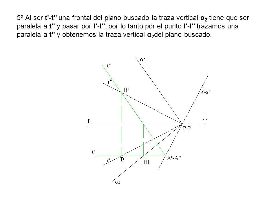 5º Al ser t'-t'' una frontal del plano buscado la traza vertical α 2 tiene que ser paralela a t'' y pasar por I'-I'', por lo tanto por el punto I'-I''