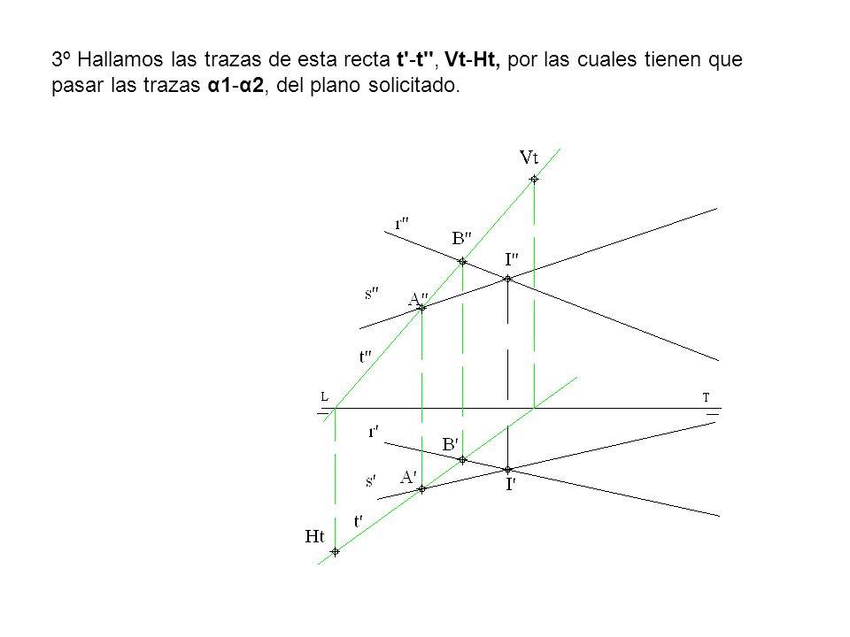 3º Hallamos las trazas de esta recta t'-t'', Vt-Ht, por las cuales tienen que pasar las trazas α1-α2, del plano solicitado.