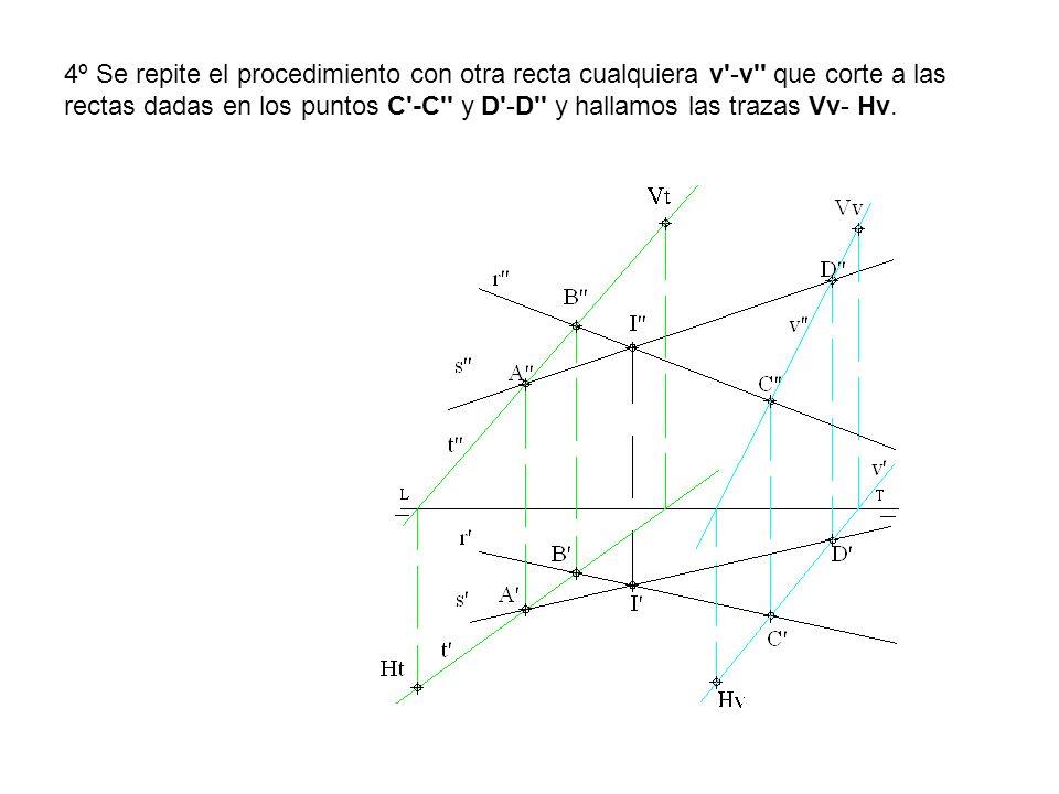4º Se repite el procedimiento con otra recta cualquiera v'-v'' que corte a las rectas dadas en los puntos C'-C'' y D'-D'' y hallamos las trazas Vv- Hv