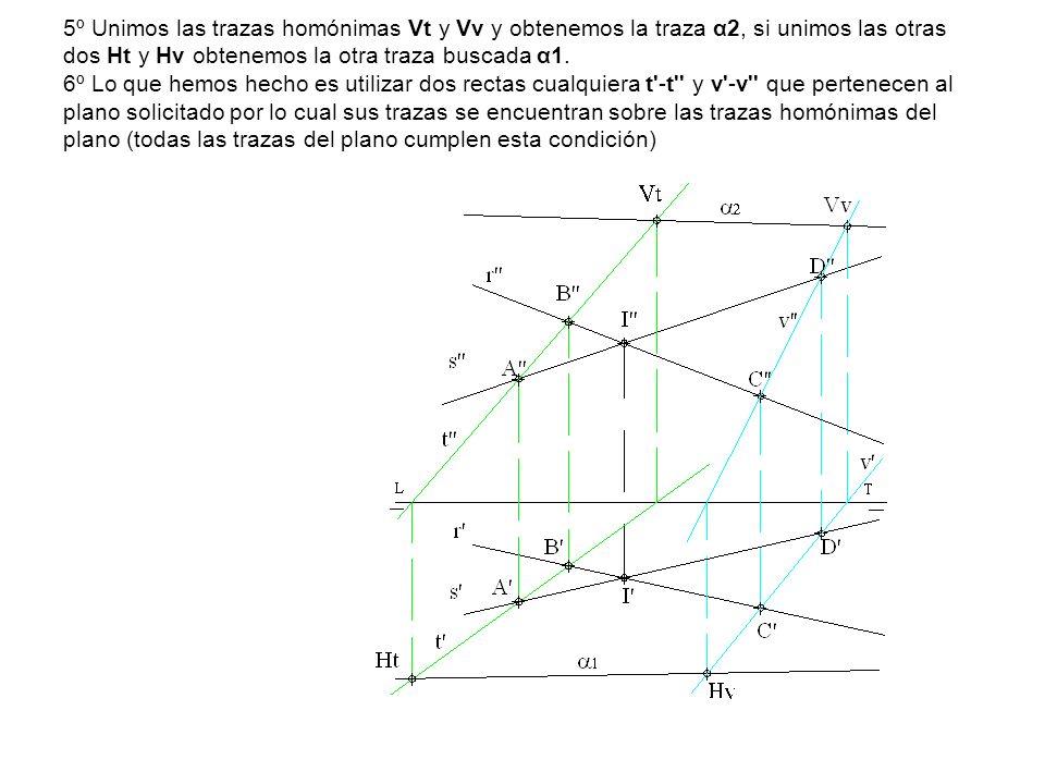 5º Unimos las trazas homónimas Vt y Vv y obtenemos la traza α2, si unimos las otras dos Ht y Hv obtenemos la otra traza buscada α1. 6º Lo que hemos he