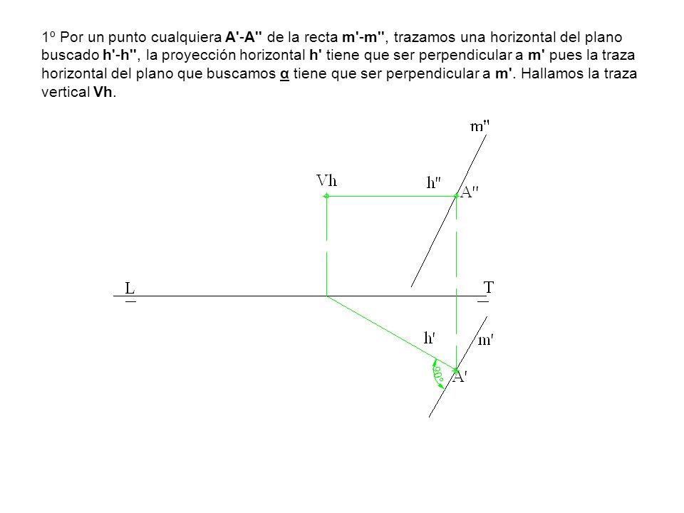 1º Por un punto cualquiera A'-A'' de la recta m'-m'', trazamos una horizontal del plano buscado h'-h'', la proyección horizontal h' tiene que ser perp