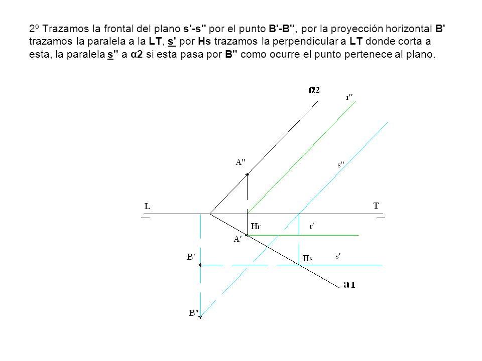 2º Trazamos la frontal del plano s'-s'' por el punto B'-B'', por la proyección horizontal B' trazamos la paralela a la LT, s' por Hs trazamos la perpe