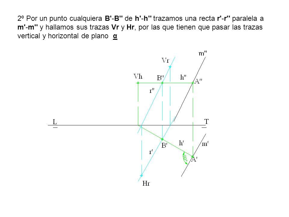 2º Por un punto cualquiera B'-B'' de h'-h'' trazamos una recta r'-r'' paralela a m'-m'' y hallamos sus trazas Vr y Hr, por las que tienen que pasar la