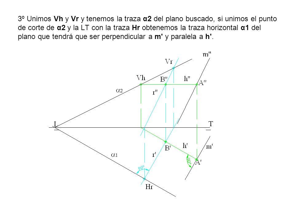 3º Unimos Vh y Vr y tenemos la traza α2 del plano buscado, si unimos el punto de corte de α2 y la LT con la traza Hr obtenemos la traza horizontal α1