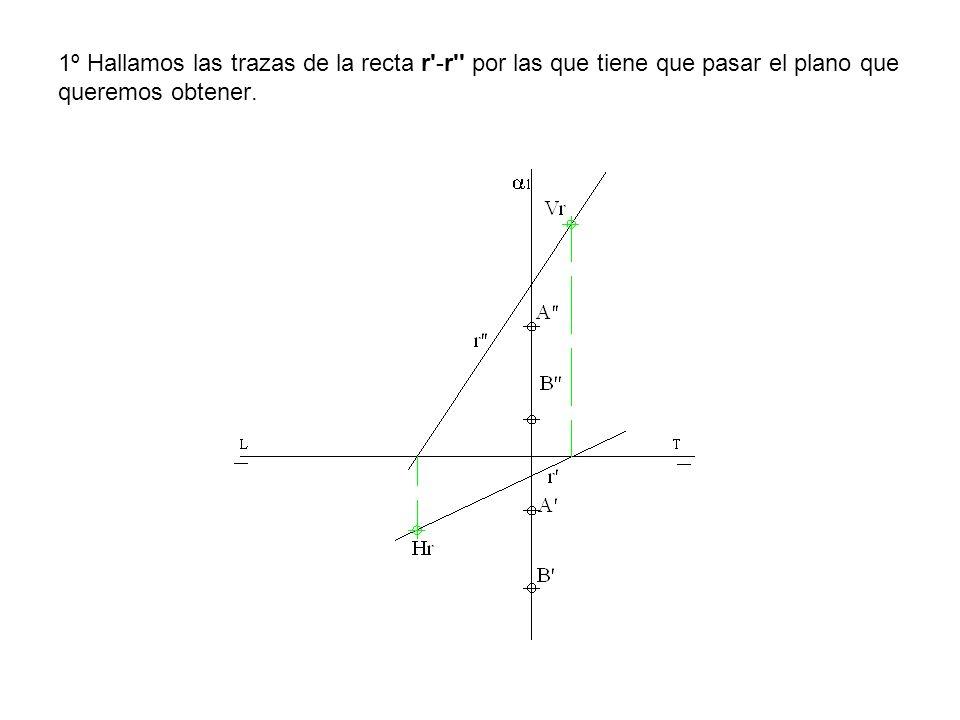 1º Hallamos las trazas de la recta r'-r'' por las que tiene que pasar el plano que queremos obtener.
