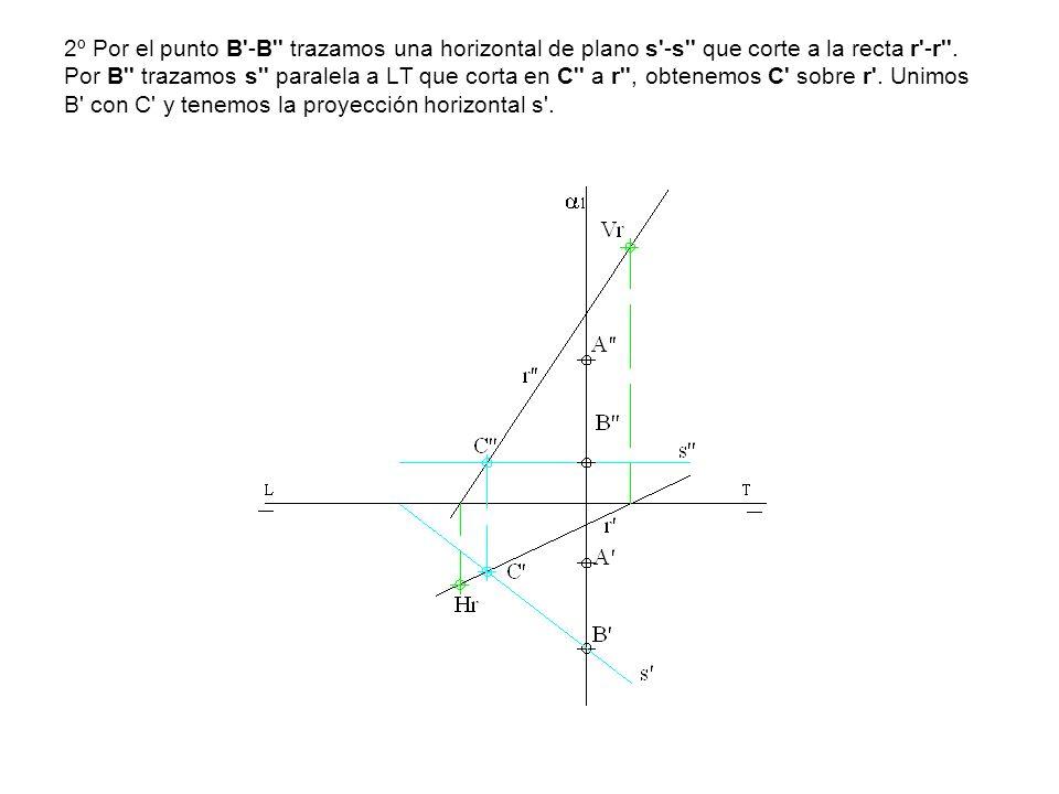 2º Por el punto B'-B'' trazamos una horizontal de plano s'-s'' que corte a la recta r'-r''. Por B'' trazamos s'' paralela a LT que corta en C'' a r'',