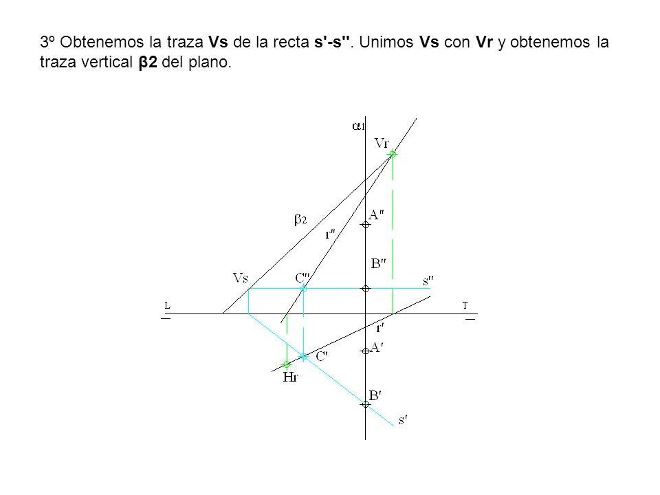 3º Obtenemos la traza Vs de la recta s'-s''. Unimos Vs con Vr y obtenemos la traza vertical β2 del plano.