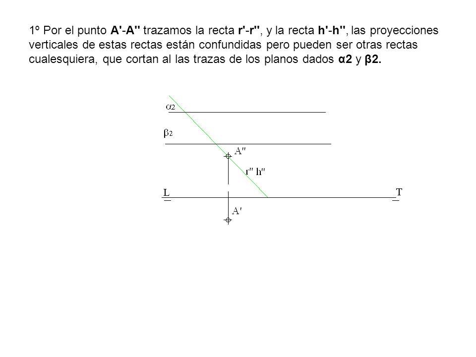 1º Por el punto A'-A'' trazamos la recta r'-r'', y la recta h'-h'', las proyecciones verticales de estas rectas están confundidas pero pueden ser otra