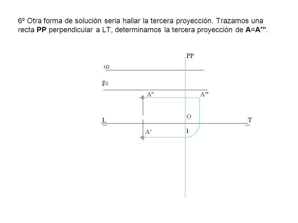 6º Otra forma de solución seria hallar la tercera proyección. Trazamos una recta PP perpendicular a LT, determinamos la tercera proyección de A=A'''.