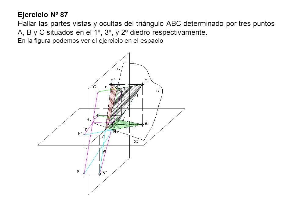 Ejercicio Nº 87 Hallar las partes vistas y ocultas del triángulo ABC determinado por tres puntos A, B y C situados en el 1º, 3º, y 2º diedro respectiv