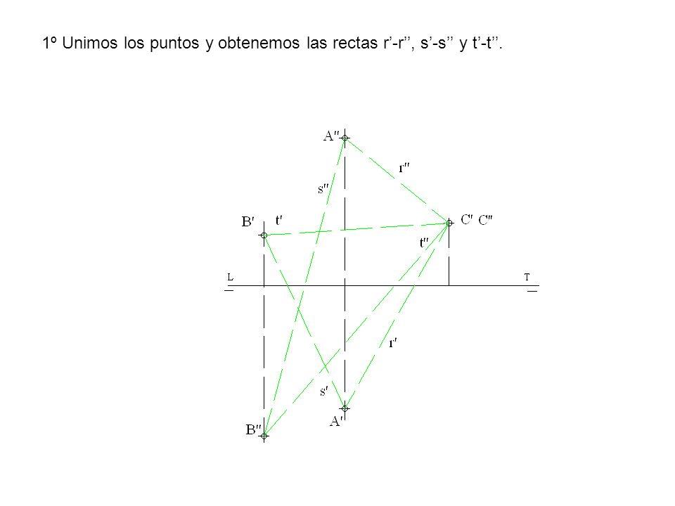 1º Unimos los puntos y obtenemos las rectas r-r, s-s y t-t.