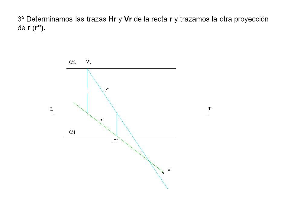 3º Determinamos las trazas Hr y Vr de la recta r y trazamos la otra proyección de r (r'').