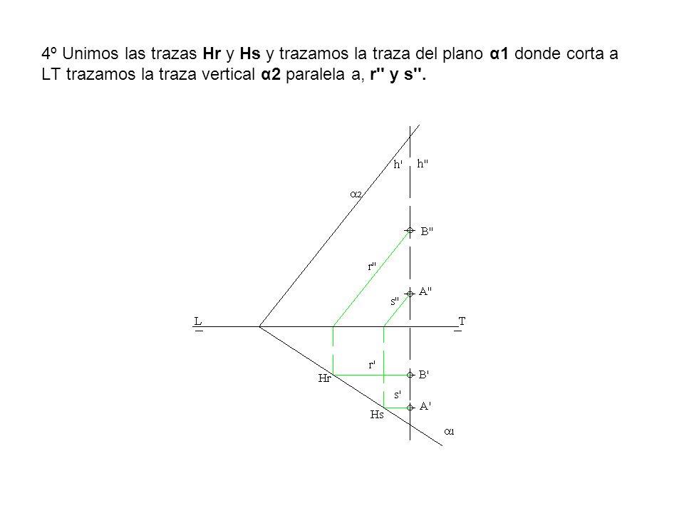 4º Unimos las trazas Hr y Hs y trazamos la traza del plano α1 donde corta a LT trazamos la traza vertical α2 paralela a, r'' y s''.