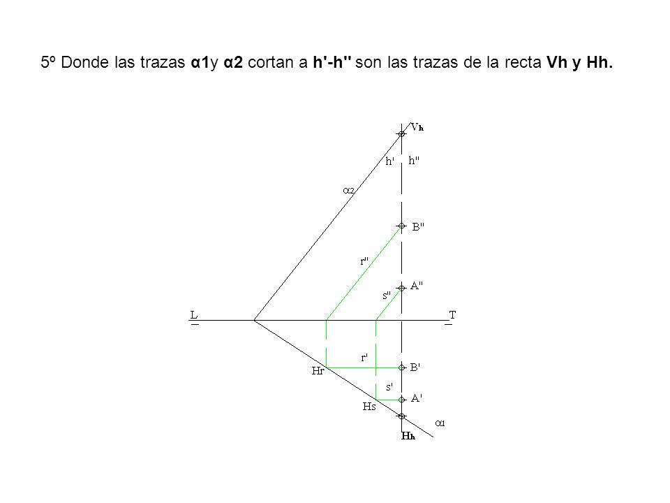 5º Donde las trazas α1y α2 cortan a h'-h'' son las trazas de la recta Vh y Hh.